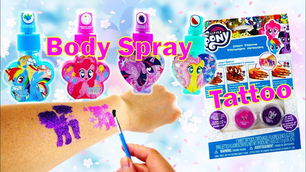 New My Little Pony Makeup Kits Body Glitter Spray and Glittery Temporary Tattoo
