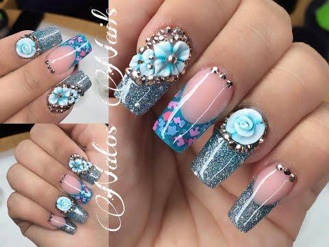 Uñas Acrilicas | Diseño en Azul | Natos Nails