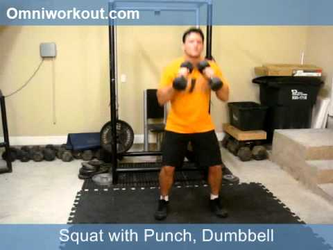 Squat with Punch, Dumbbell