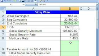 Excel Busn Math 41: Payroll Deductions With Ceilings (FICA)