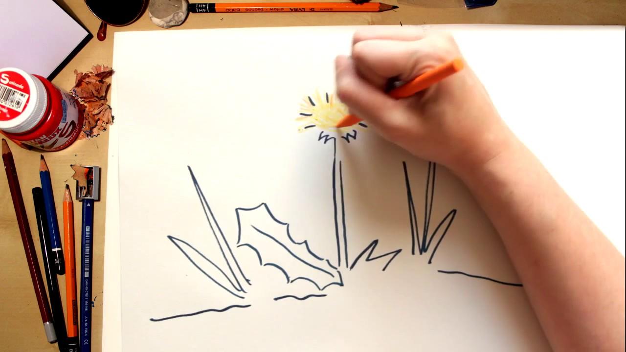 Como desenhar a flor Dente-de-leão - desenhos para crianças