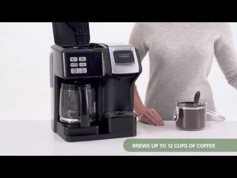 , Hamilton Beach (49976) Coffee Maker, Single Serve & Full Coffee Pot,Compatible withK-Cup Packs or Ground Coffee, Programmable, FlexBrew, Black