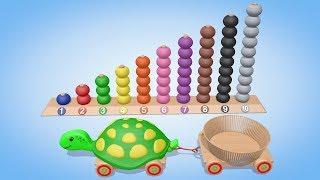 Учимся считать от 1 до 10 с Черепашкой. Цвета и Цифры для малышей. Детские игрушки. Паровозик Олли
