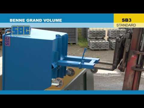 Video Youtube Benne basculante grand volume - Capacité 1350 à 4000 litres - Charge inférieure à 2000 kg
