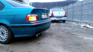 Atlantis Blue BMW E36 Coupe Shoot Flames Exhaust   ROMANIA   E36 NOW