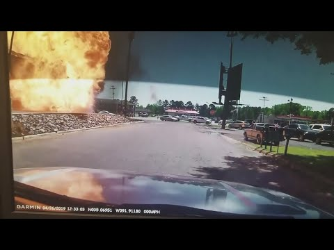 A pickup truck exploded at the drive-thru of a Burger King in central Arkansas, injuring the driver. (April 29)