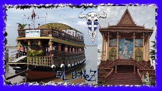 preview picture of video 'Cambodia Khmer Hut, Ferry Crossing Mekong River, Monasteries'