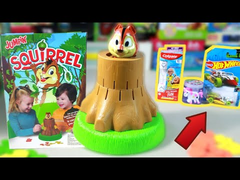 Jumpin Squirrel Family Game for Girls & Boys | Unbox with Hotwheels, Motu Patlu  & Slime Toys