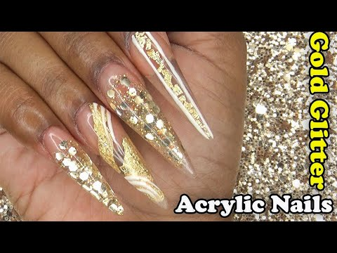 Acrylic Nails Tutorial - How To Encapsulated Nails - Gold Glitter and Gold Foil - with Nail Forms
