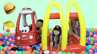 Playtime with McDonald's Drive-Thru GIANT Inflatable Ball Pit and Pretend Food