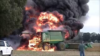 John Deere 9660 STS Combine Fire, SK FARMS SOYBEAN HARVEST PART 2