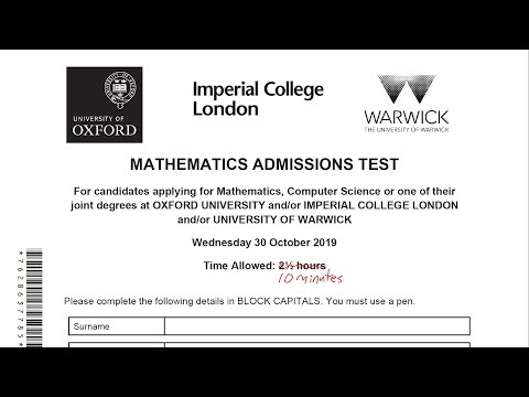 MAT (Oxford Mathematics Admissions Test) 2019 in 10 minutes or less