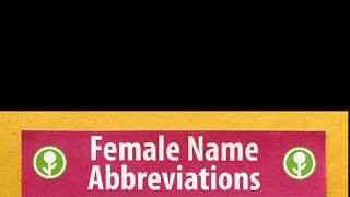 Female Name Abbreviations [Obvious Plant]
