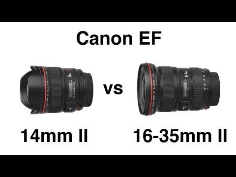 Canon EF 14mm II vs 16-35mm II wide angle lens comparison