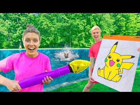 GIANT 3 Marker Board Game Challenge Sis Vs Bro (PRANK to Capture Pond Monster)
