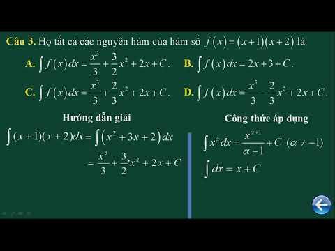 Ôn thi THPT QG môn Toán, chủ đề: Nguyên Hàm