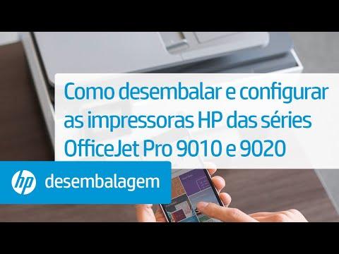 Como desembalar e configurar as impressoras HP das séries OfficeJet Pro 9010 e 9020