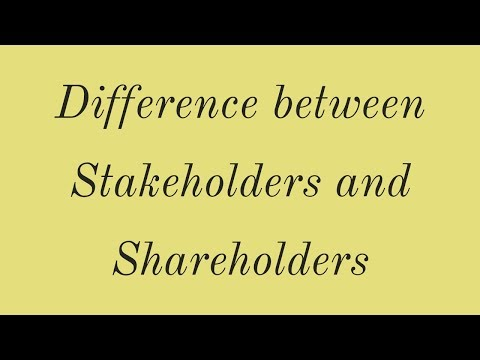 Difference between shareholders and stakeholders-Class 10,ICSE