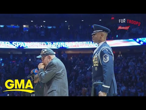 Veteran steals the show with national anthem performance l GMA