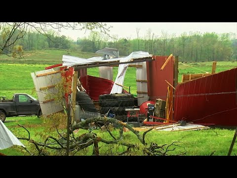 Tornadoes knocked down power lines and caused scattered damage across farms Monday in northeast Alabama. Farm buildings and homes were damaged in rural Blount County. At least one person was reported injured. (April 9)