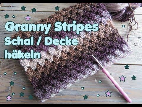 Granny Stripes Schal Häkeln Granny Streifen Decke Etc