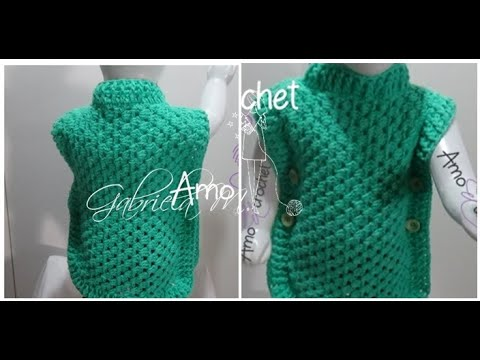 Chaleco en crochet paso a paso con proyección de talles