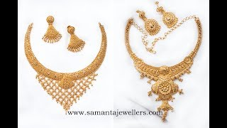 Latest Gold Necklace Designs With Weight   Simple Gold Necklaces Haram Choker   Samanta Jewellers
