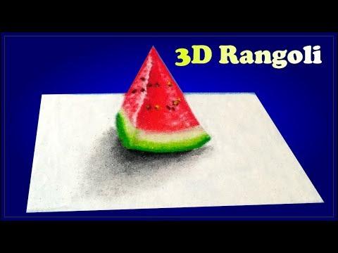3d rangoli design water melon by jeet rangoli