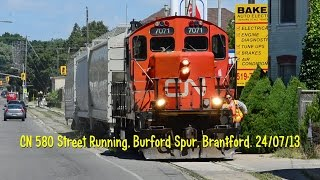 preview picture of video 'CN 580 Street Running, Burford Spur, Brantford. 24/07/13'