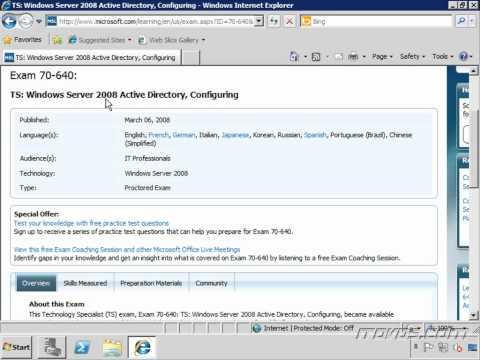 MCTS Exam 70-640 Windows Server 2008 Active Directory Training ...