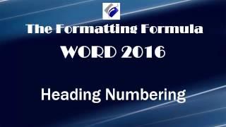 Word 2016   Heading Numbering