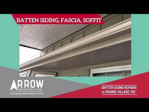 Arrow Renovation had a project in Prairie Village, KS which we installed some new fascia, soffit and batten siding.