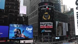 WISeKey Messages of hope and gratitude showcased at Times Square NASDAQ Tower billboard.