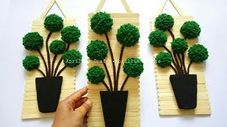 Diy Popsicle Stick Crafts|| Diy Felt Topiary Trees || Diy Hiasan Dinding Stik Eskrim Dan Kain Flanel