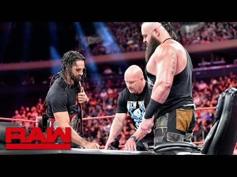 """Stone Cold"" Steve Austin moderates Universal Title Match contract signing: Raw, Sept. 9, 2019"