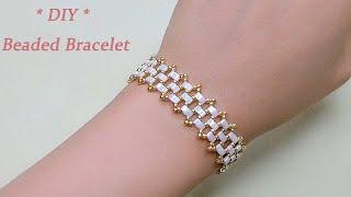 DIY Beaded Netting Bracelet with Miyuki Half Tila 2 Hole Beads 双孔珠Tila串珠手链