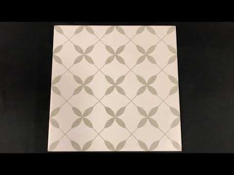 Gres szkliwiony PATCHWORK CONCEPT white-grey clover pattern satin 29,8x29,8 gat. I