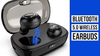 Bluetooth 5.0 Wireless Earbuds    Sports Headset with Charging Case   Built-in Mic IPX5