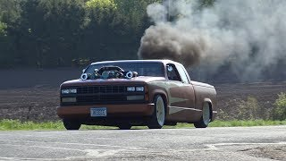 Detroit Diesel Custom Twin Turbos that's Rollin' Coal in a chopped and bagged '89 Chev pickup.