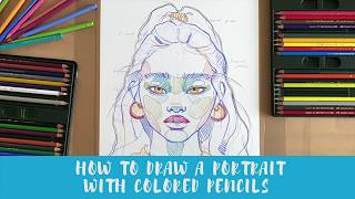 POLINA BRIGHT SKETCHING STYLE | Creating A Portrait With Colored Pencils