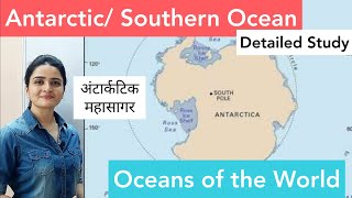 World Map: Oceans - Antarctic/ Southern Ocean - in detail (with Ozone Hole Concept)