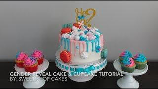 Gender Reveal Drip Cake & Cupcake Tutorial | Sweet Shop Cakes