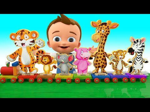 Baby Fun Learning Zoo Animals Names with Wooden Chu Chu Train ToySet Play Kids Educational
