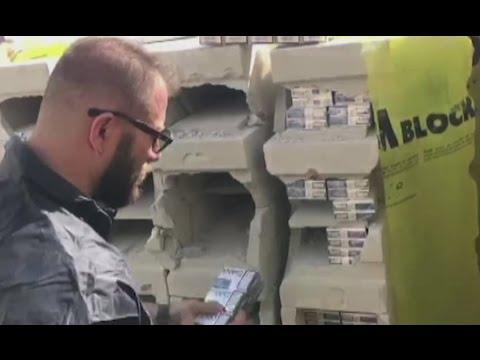 Napoli - Sigarette di contrabbando nascoste in bobine e blocchi di gesso (30.03.17)