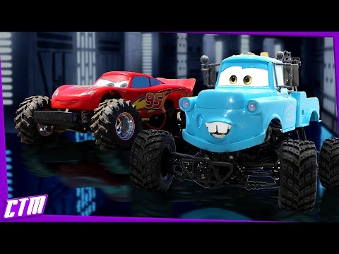 Disney Pixar CARS Monster Truck Mater & Lightning McQueen : BMX Track Jumps & Stunts R/C Action!!!