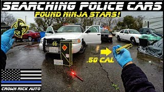 Searching Police Cars Found Ninja Stars! Throwing knives, 50 Cal Ammo Box