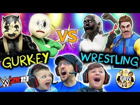 GRANNY WWE WRESTLING! Buff Baldi vs. FGTeeV Family Tag Team (Bendy + Hello Neighbor Match)