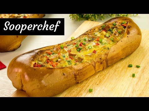 Cheesy Breakfast Egg Boat With Sausage By SooperChef