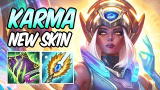 *NEW SKIN, INFINITE MANA RUNES & ITEM REWORK* ODYSSEY KARMA MID GAMEPLAY FULL AP | League of Legends