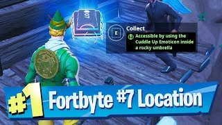 Fortnite Fortbyte #7 Location - Accessible by using the Cuddle Up Emoticon inside a Rocky Umbrella